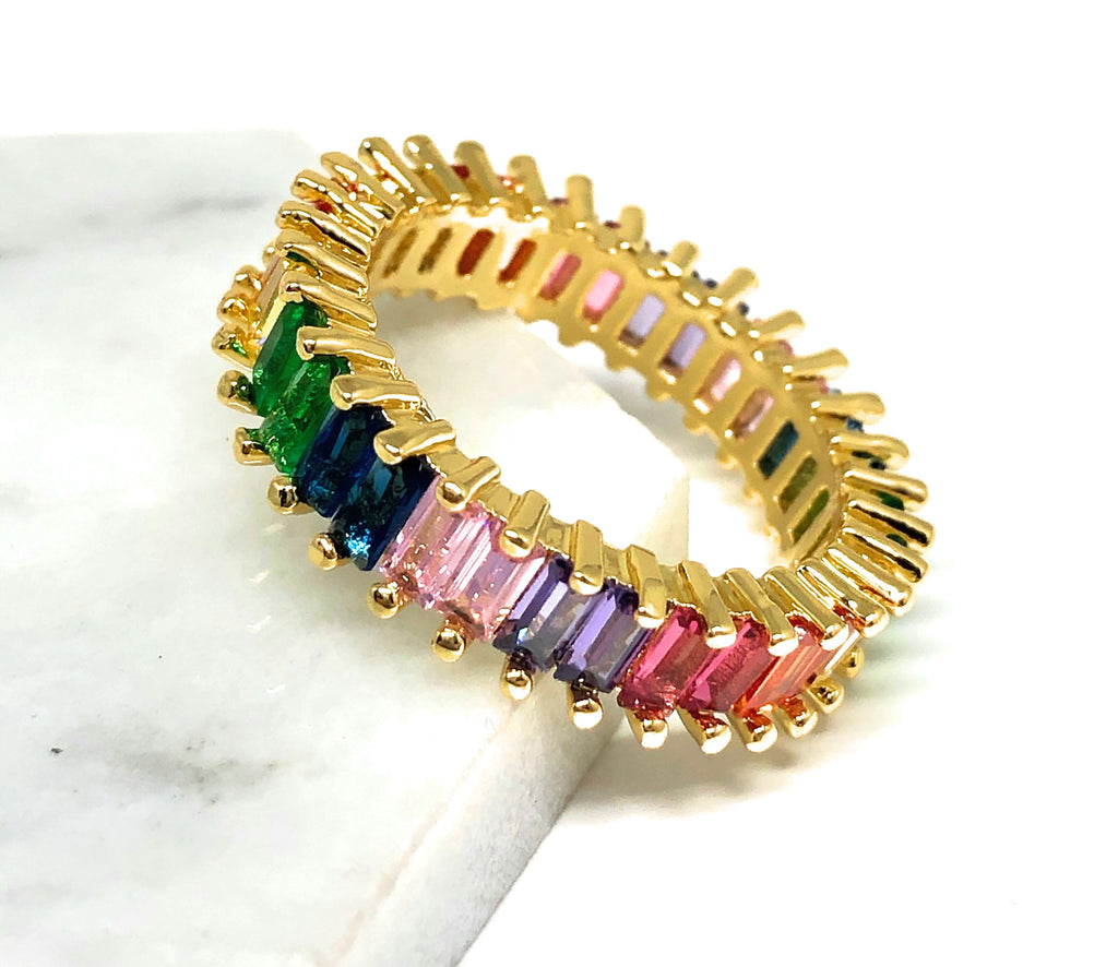 Gold Plated Multi-Color Vibrant Rainbow Baguette Ring Anillo