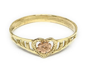 10k Solid Gold Yellow & Rose Gold Heart Flower Ring