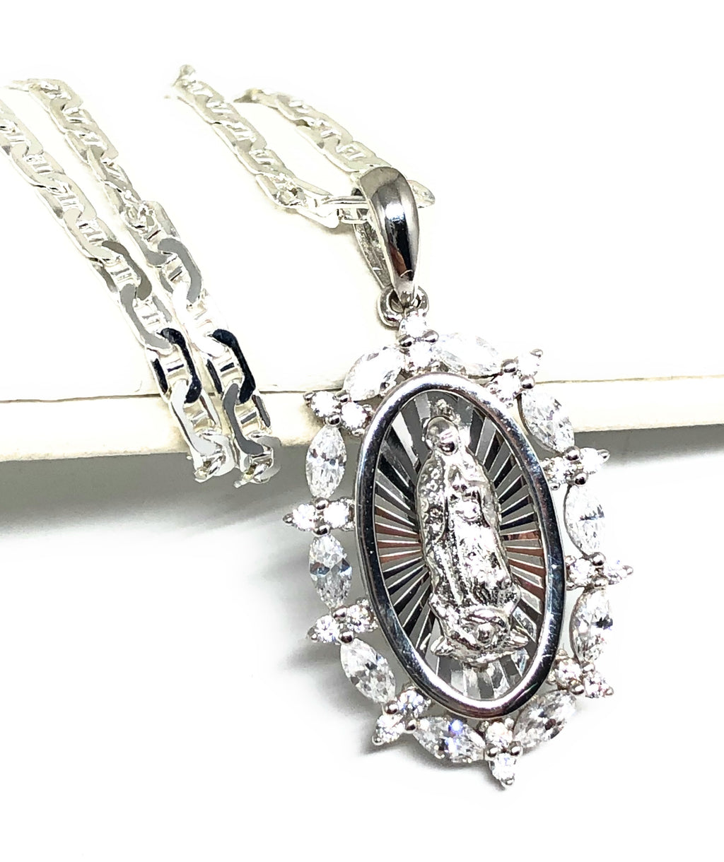.925 Silver Virrgin Marry Pendant CZ Necklace with Chain Options