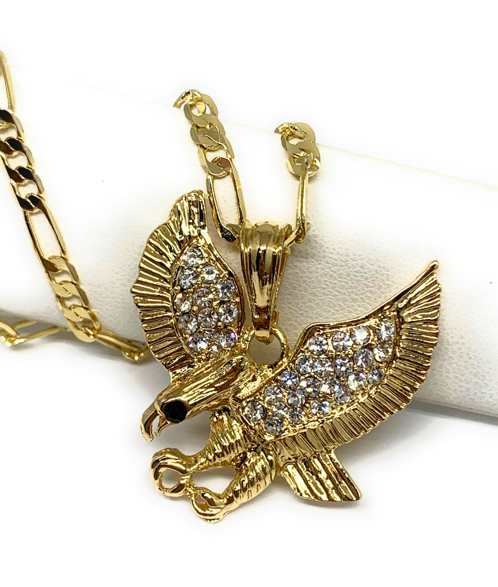 "Gold Plated Iced Out Eagle Pendant Necklace Figaro 26"" Aguila Oro Laminado"