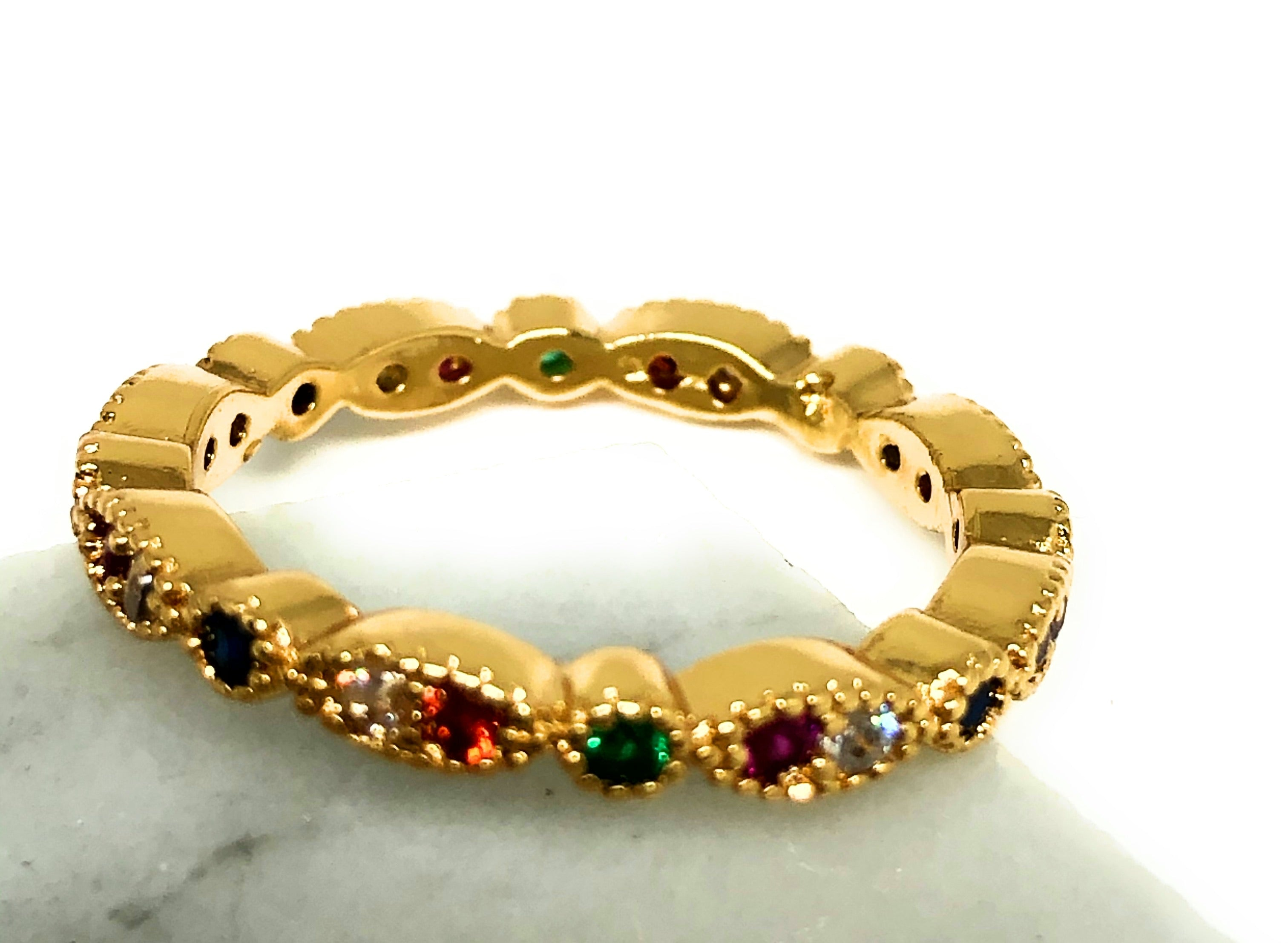 Gold Plated Colorful multi-color Stone Mini Band Ring Anillo