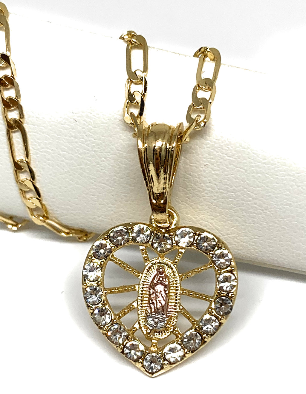 "Gold Plated Tri-Color Virgin Mary Heart Cubic Zirconia Pendant Necklace 24"" Virgen Guadalupe"