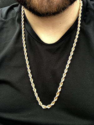 Men's Large Hip Hop 26 Inch Rope Chain Gold Plated 6mm Width