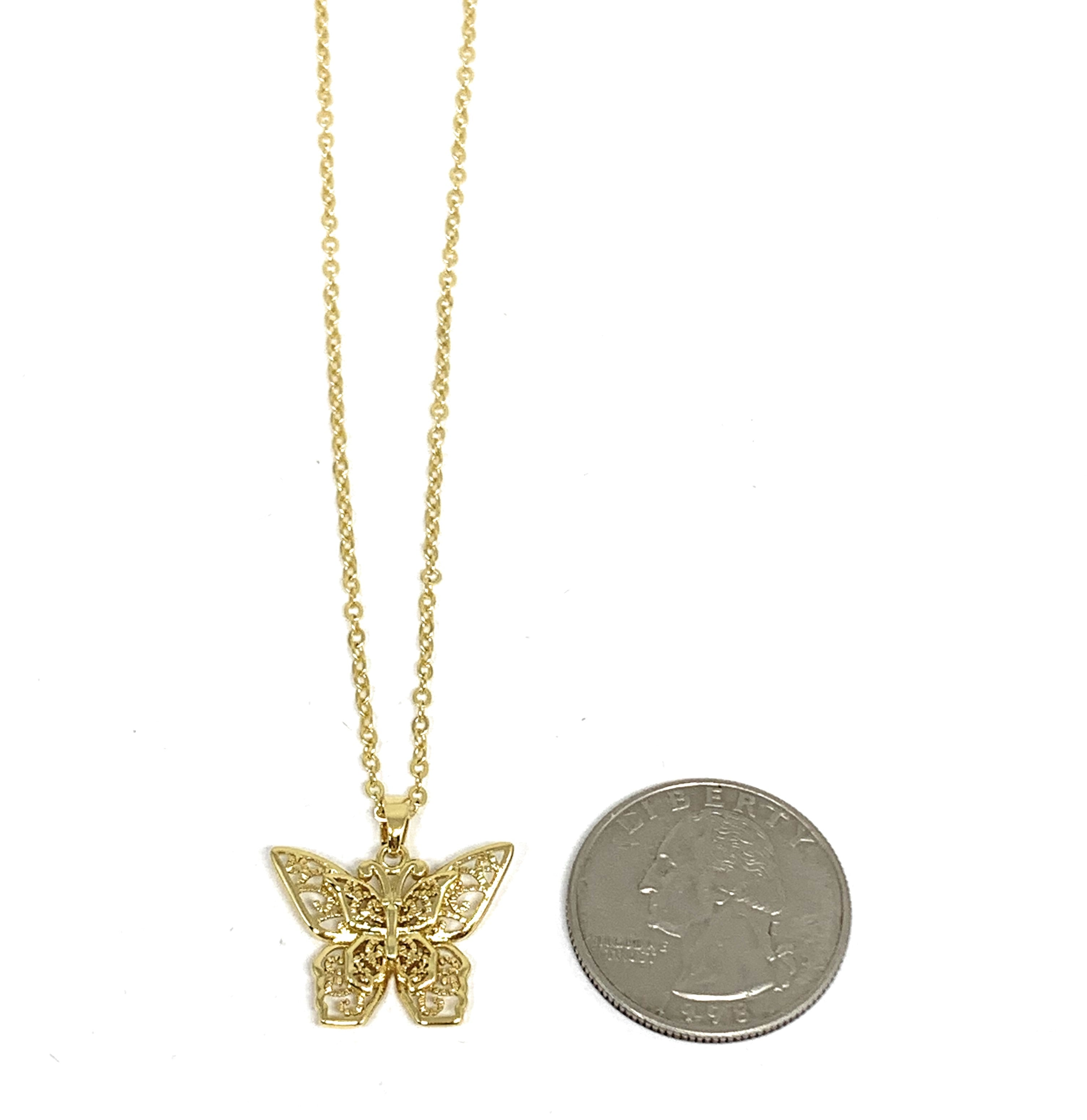 Gold Plated Yellow Butterfly Dainty Pendant Necklace Chain 20""