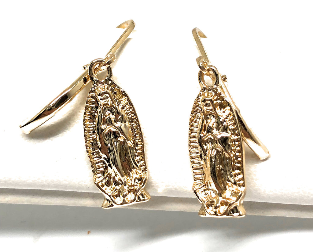 Gold Plated Virgin Mary Earrings Aretes Oro Laminado Virgen De Guadalupe