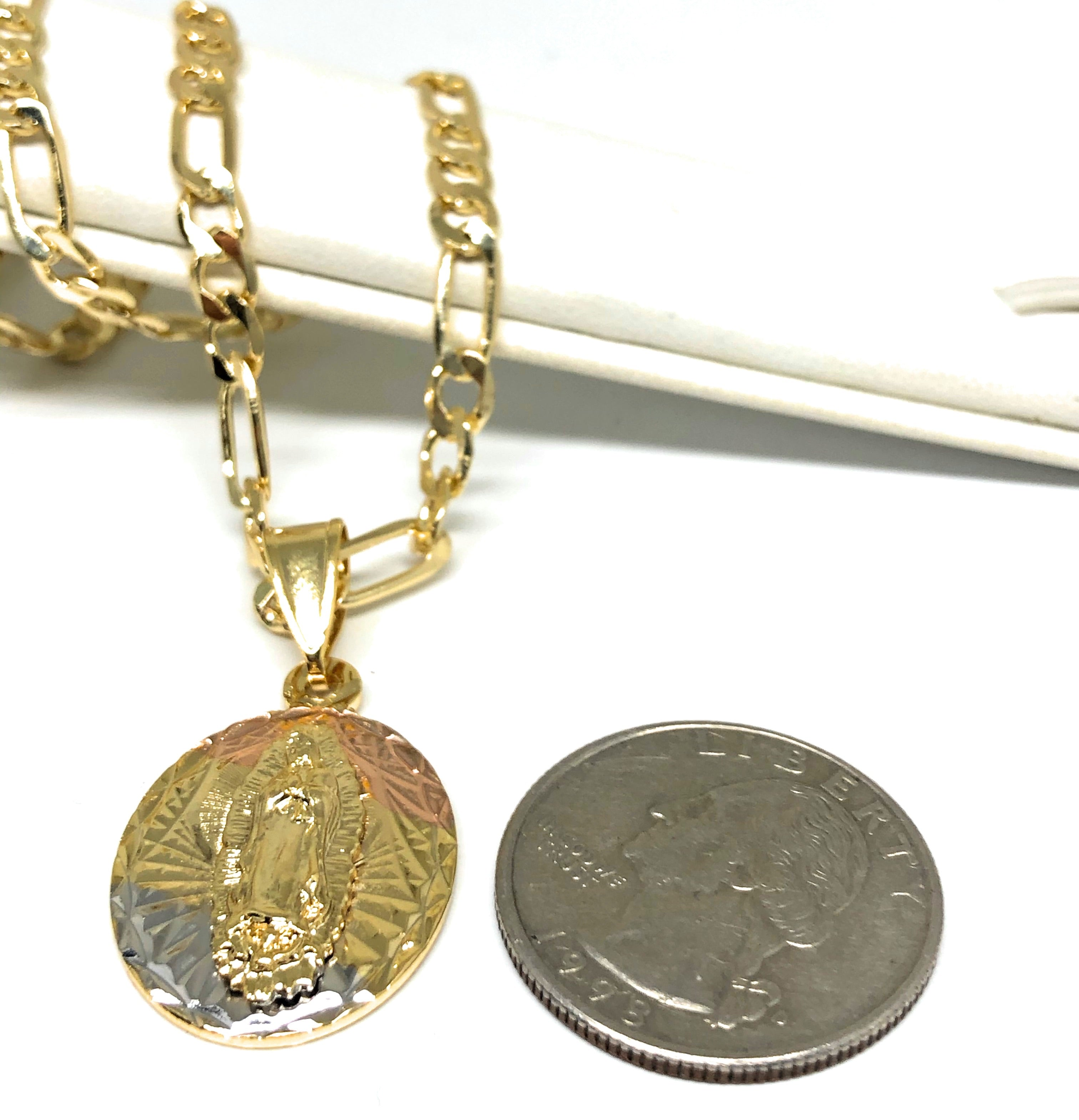"Gold Plated Tri-Color Virgin Mary Pendant Necklace 24"" Virgen De Guadalupe Medalla Tres Colores"