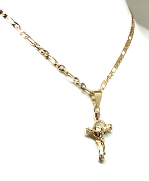 "Gold Plated Kids Cross Jesus Crucifix 18"" Chain Para Ninos"