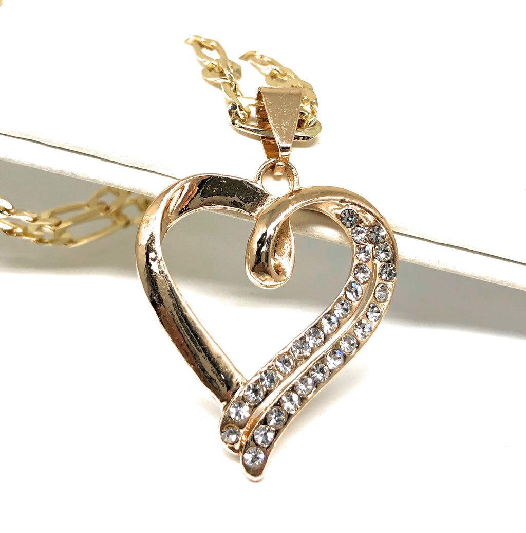 "Gold Plated Heart CZ Pendant Necklace Chain 24"" Corazon"