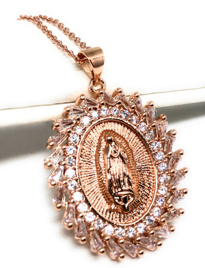 "Gold Plated Rose Gold Virgin Mary Pendant Necklace CZ 20"" Virgen de Guadalupe"