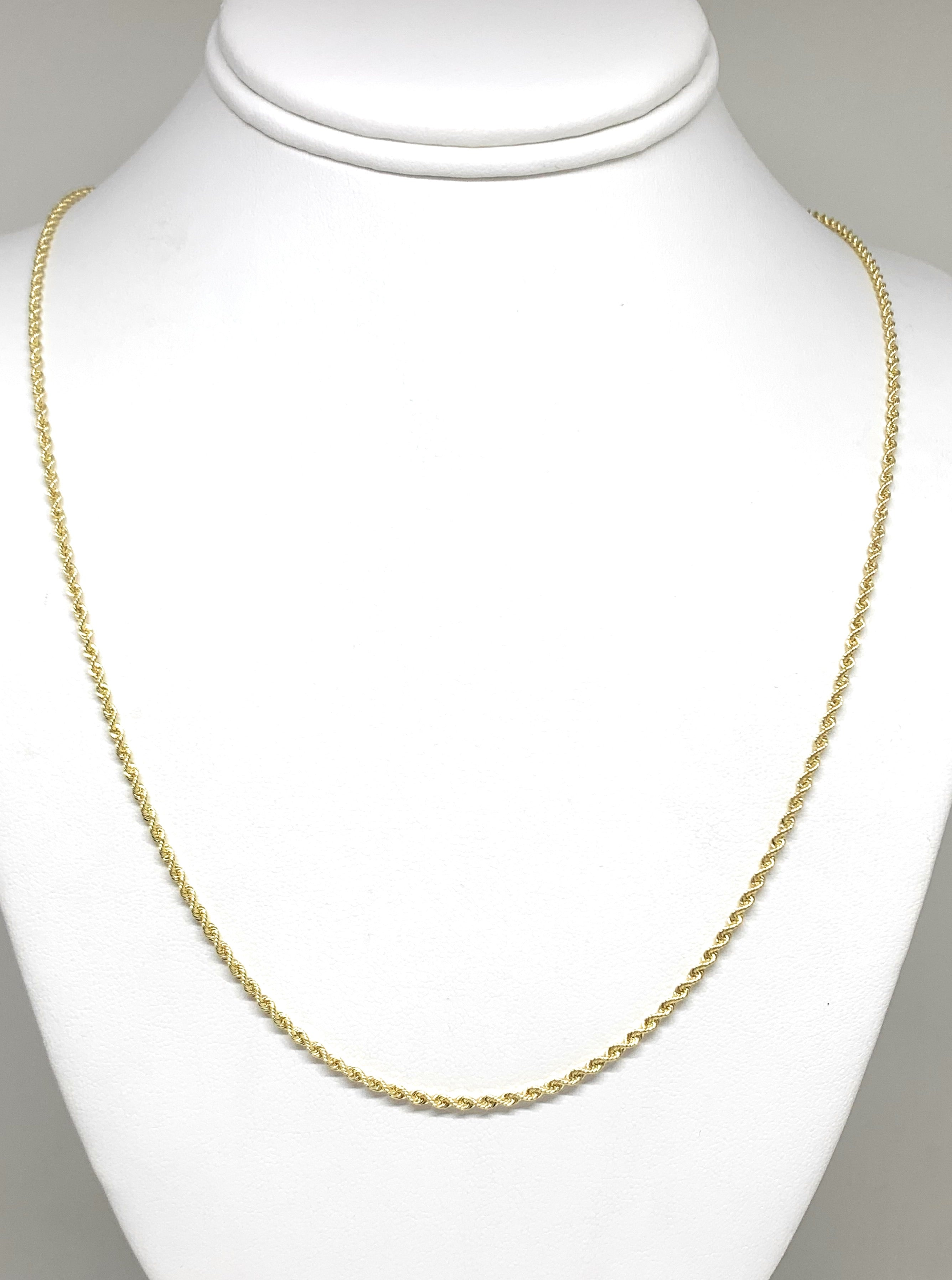 10k Solid Gold Yellow Rope Chain 16-26 inches 2mm (Semi-Hollow Style)