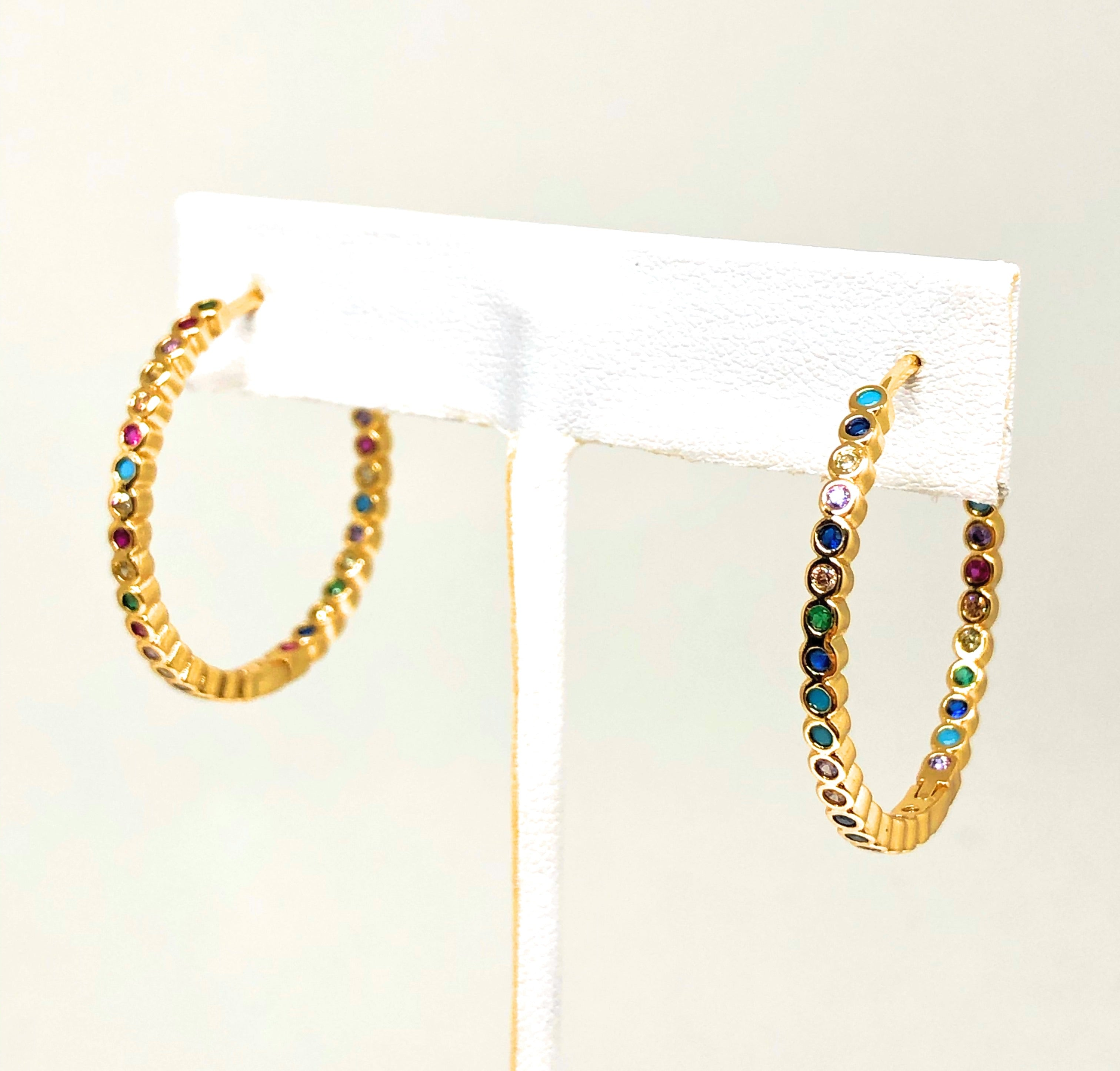Gold Plated Multi-Color Colorful Hoop Earrings Arracadas Aretes