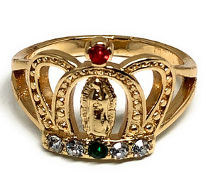Gold Plated Virgin Mary Crown Ring Virgen De Guadalupe Anillo Corona