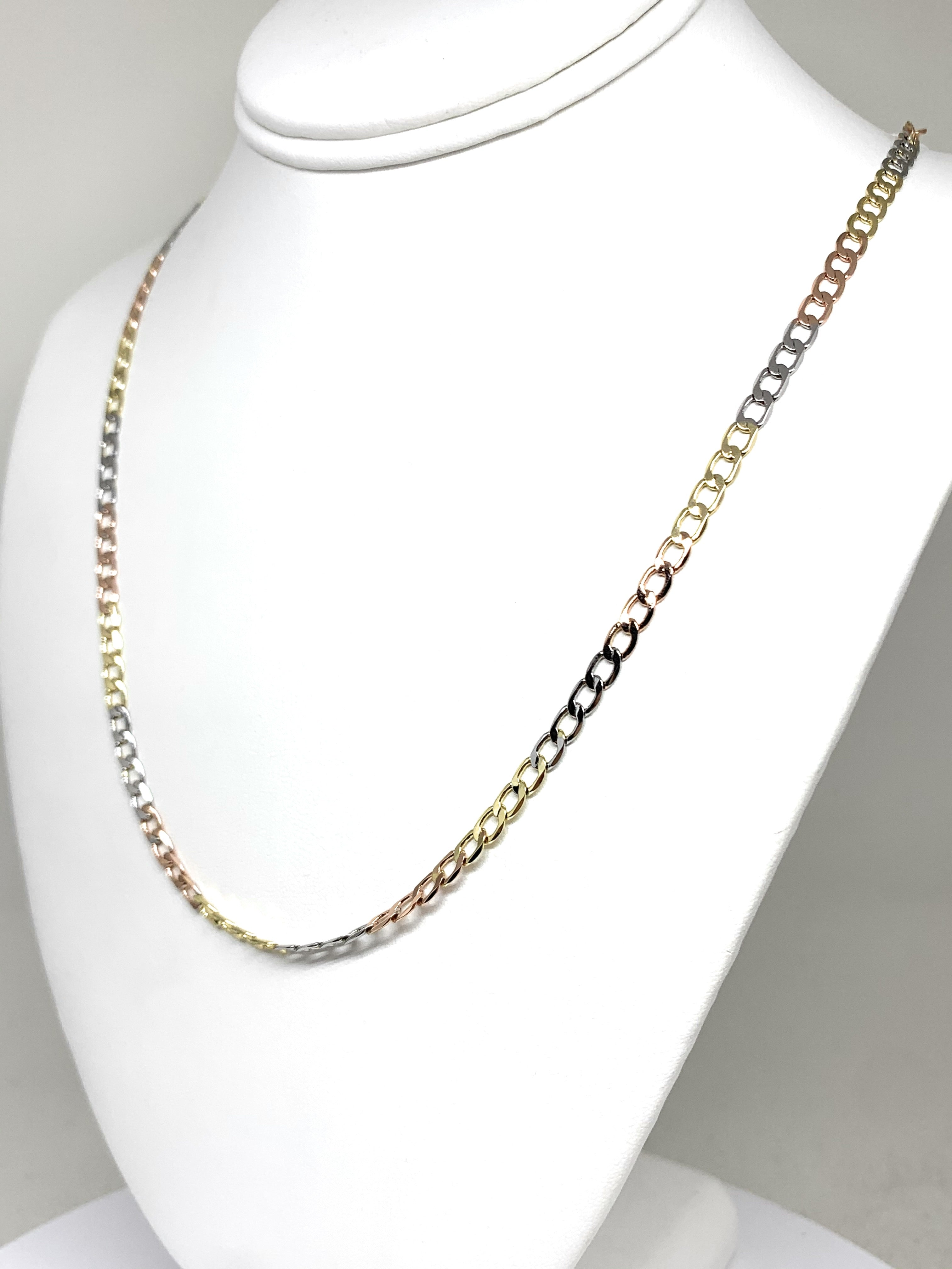 Gold Plated Tri-Color Cuban Link Chain 24 inch 4mm Wdith