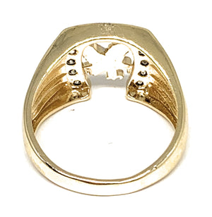Gold Plated Tri-Color Eagle Horseshoe CZ Ring Anillo