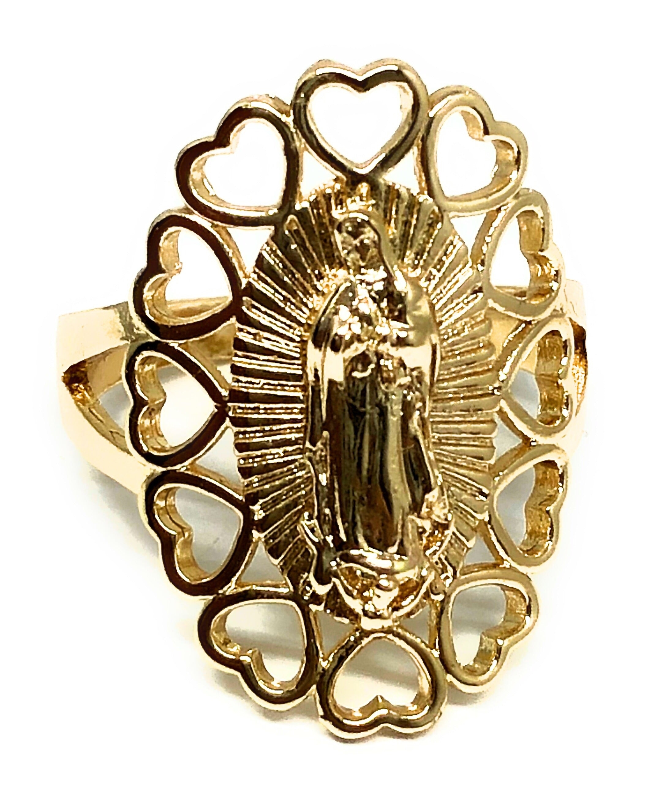 Gold Plated Virgin Mary Heart Ring Virgen De Guadalupe Corazon Anillo - Fran & Co. Jewelry
