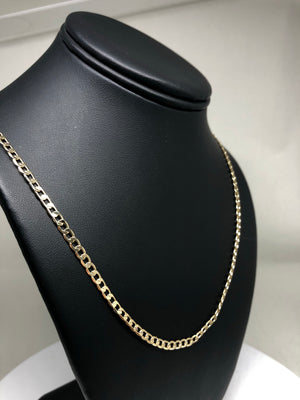 "Gold Plated 24"" 4mm Cuban Link Chain / Cadena Cuban Link 24"" Oro Laminado 4mm - Fran & Co. Jewelry"