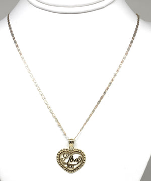 "10k Solid Gold Yellow Gold ""I Love You"" Heart Pendant Necklace"