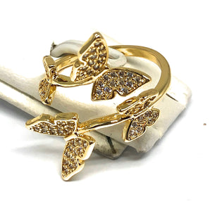Gold Plated Adjustable Double Butterfly Ring Sizes 6-12 Anillo