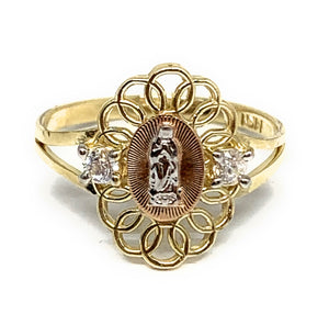 10k Solid Gold Yellow Tri-Color Virrgin Mary CZ Layered Ring
