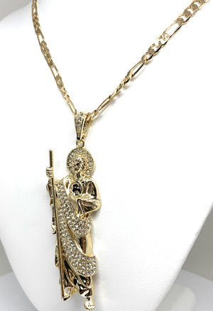 Gold Plated Saint Jude BIG XL Pendant White CZ Necklace Figaro San Judas Tadeo Medalla