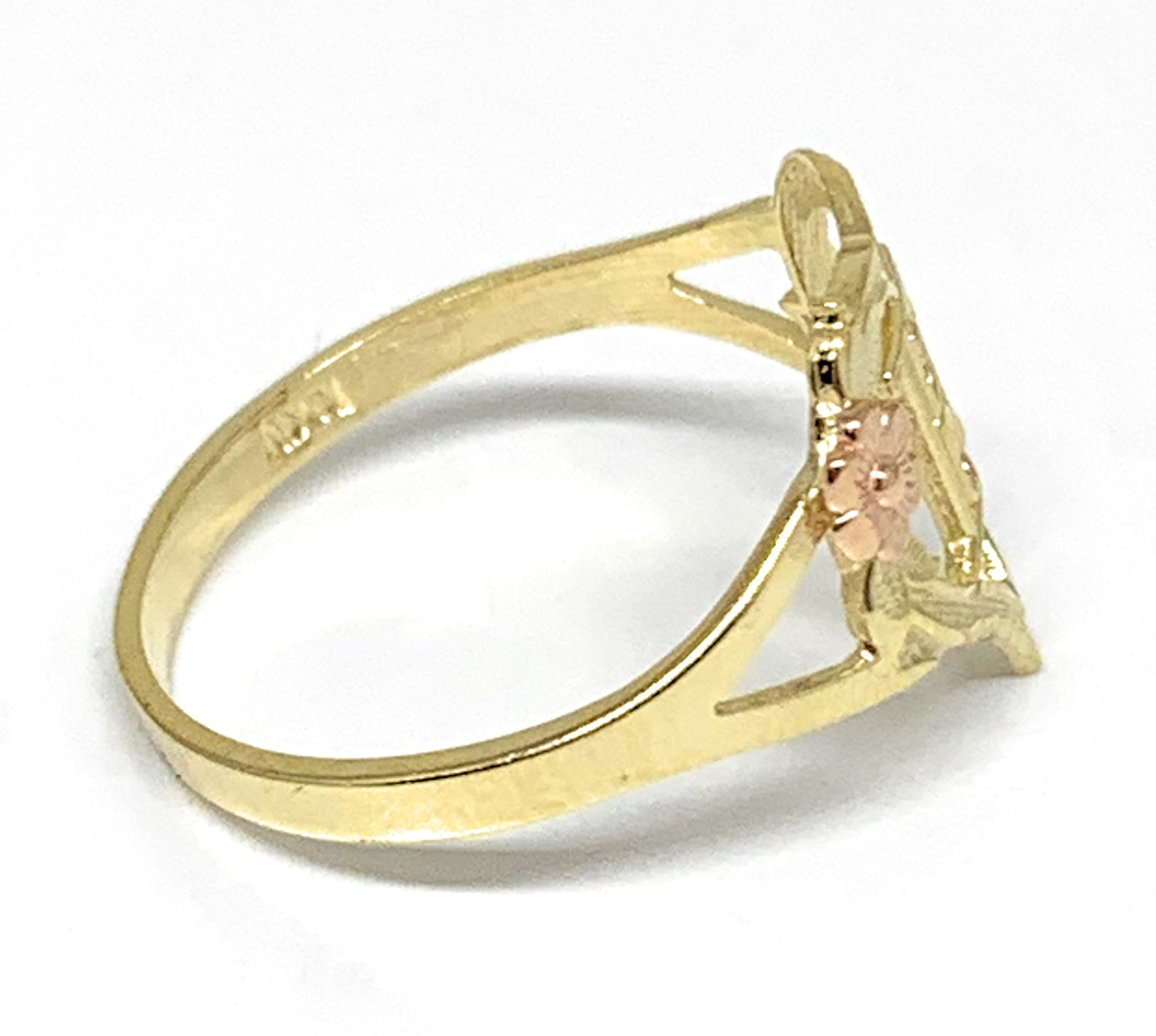 10k Solid Gold Yellow & Rose Gold Heart CUSTOMIZED Initial Ring