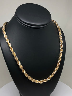 Men's Large Hip Hop 30 Inch Rope Chain Gold Plated 6mm Width - Fran & Co. Jewelry