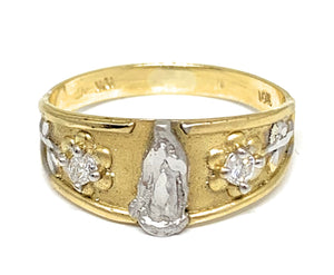 10k Solid Gold Yellow 2-Tone Virrgin Mary CZ Flower Ring