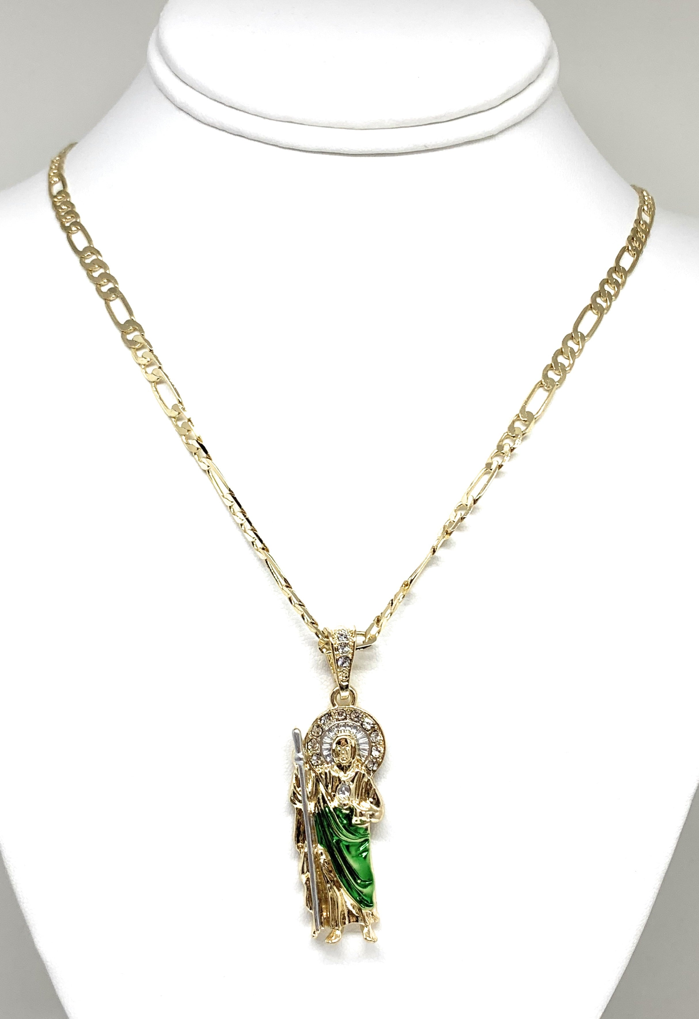 Gold Plated Saint Jude Pendant Green CZ Necklace Figaro San Judas Tadeo Medalla