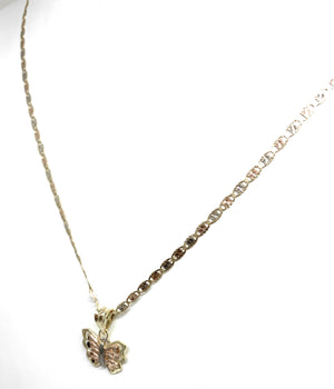 10k Solid Gold Tri-Color Small Butterfly Pendant Necklace Valentina Chain