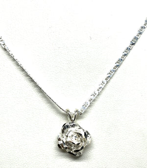.925 Silver Single Rose Pedal Pendant Necklace with Chain Options