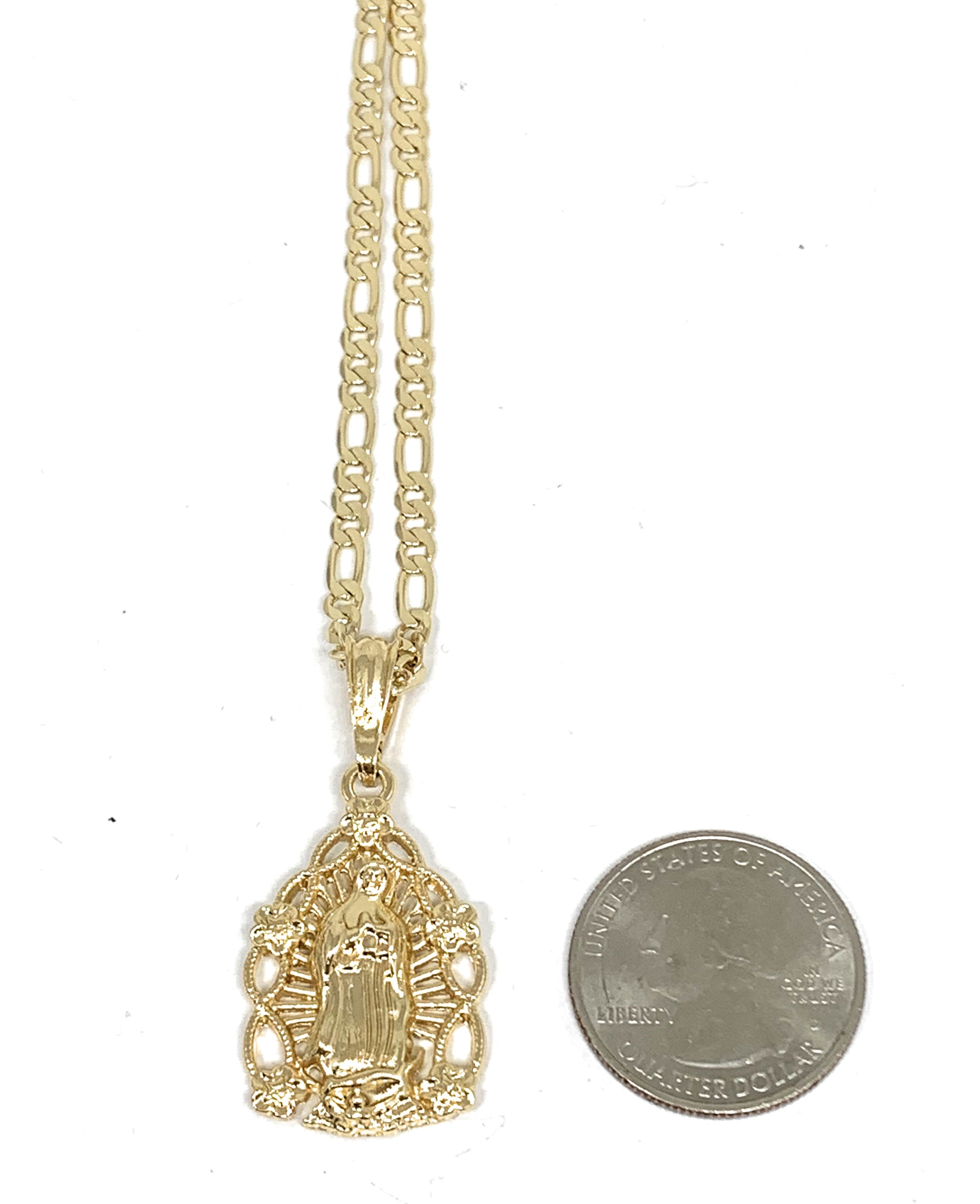"Gold Plated Yellow Virgin Mary Oval Flower Pendant Necklace 24"" Virgen de Guadalupe"