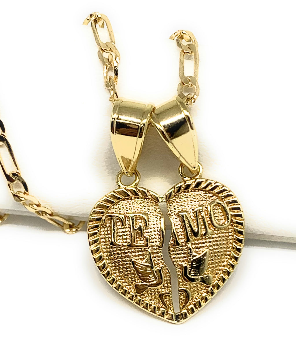 "Gold Plated Yellow ""Te Amo"" Heart Split Pendant Necklace 24"""