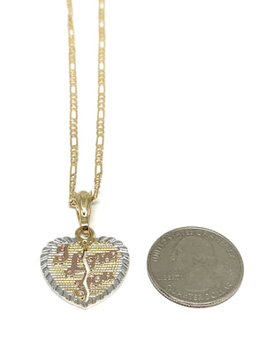 "Gold Plated Yellow ""I Love You"" Heart Pendant Necklace 24"""