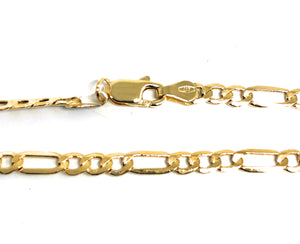 10k Solid Gold Yellow Figaro Brracelet 7,8,10 (FOR ANKLE) inch 3.5mm Width