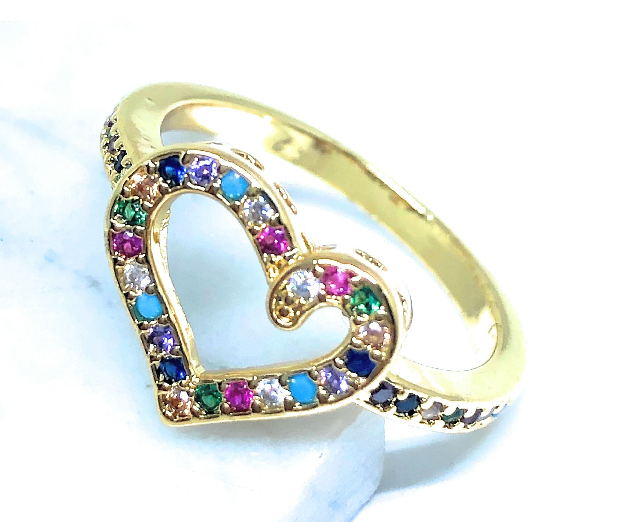 Gold Plated Colorful multi-color Stone Heart Ring Anillo