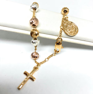 Gold Plated Tri-Color Saint Benedict Bracelet San Benito Pulsera Tres Colores 8""