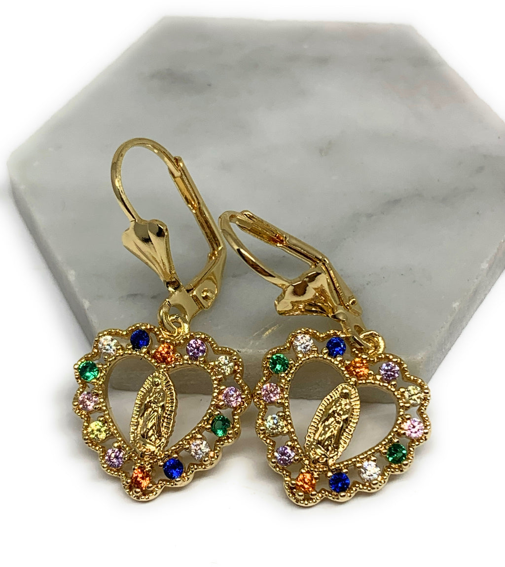 Gold Plated Virgin Mary Heart Earrings w/ Stones Aretes Virgen Guadalupe