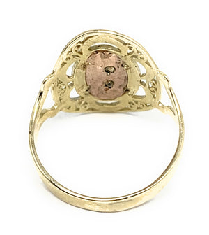 10k Solid Gold Tri-Color Virrgin Mary Oval Elegant Ring