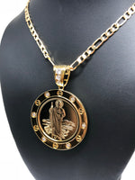 "Gold Plated Saint Jude Pendant Necklace Figaro 26"" San Judas Tadeo Virgen Centenario Medalla Oro Laminado - Fran & Co. Jewelry"
