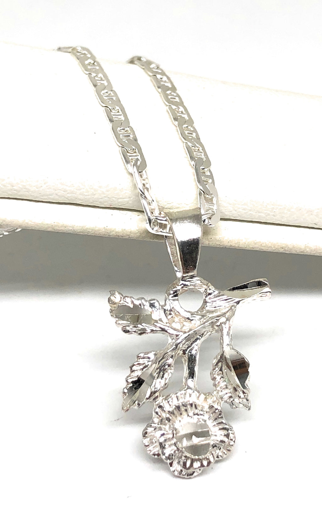 .925 Silver Rose Pendant Necklace with Chain Options