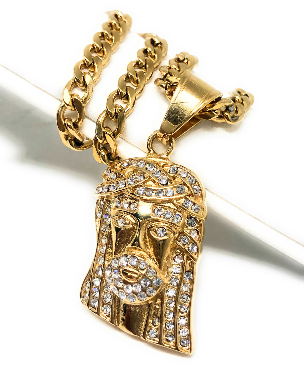 "Iced Out Gold Plated Micro Jesus Face CZ Pendant Necklace 30"" Cuban Link Chain"