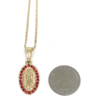 "Gold Plated Virgin Mary Pendant Necklace Valentina 20"" Virgen de Guadalupe Medalla"