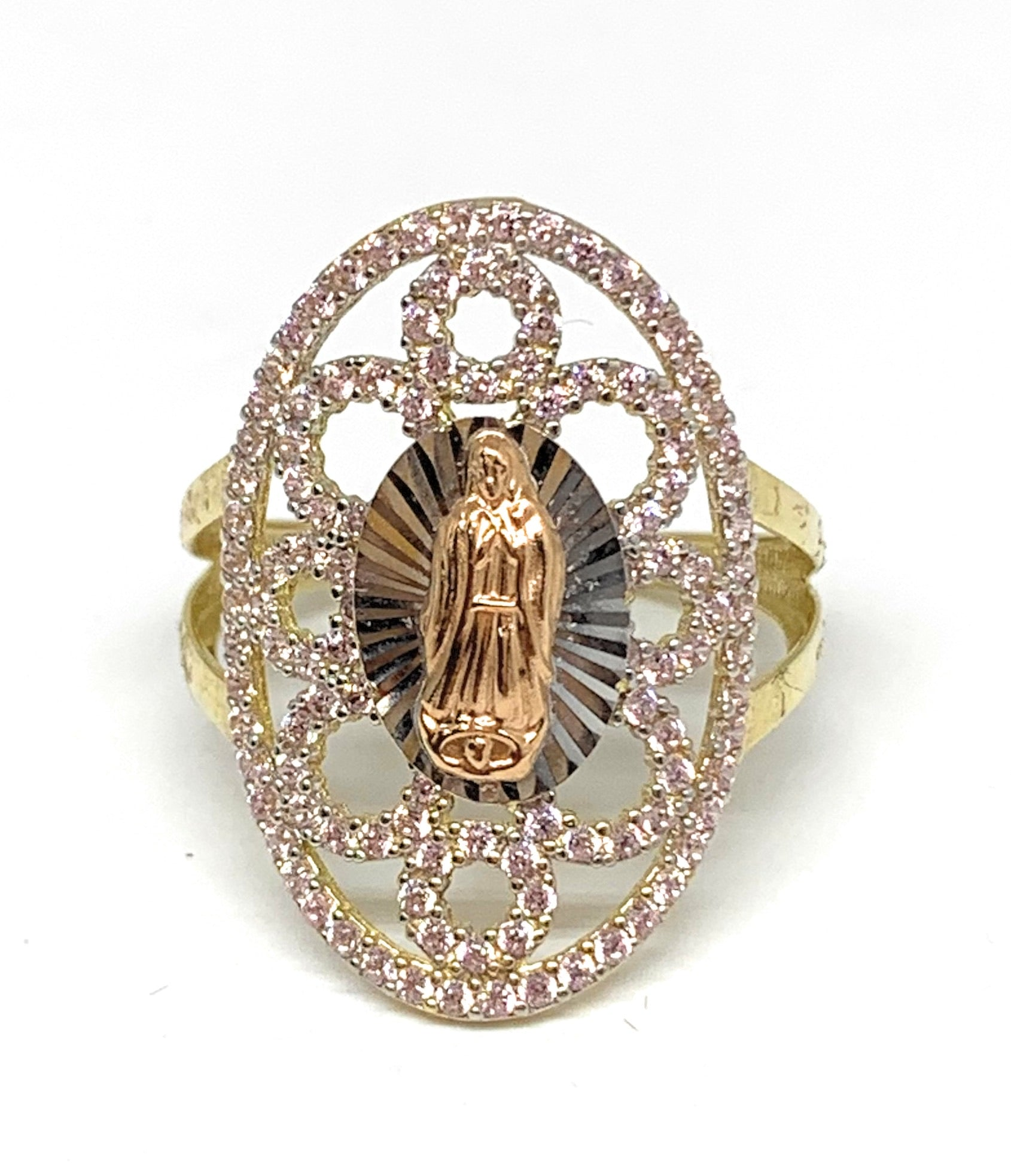 14k Solid Gold Tri-Color Virrgin Mary Pink CZ Fancy Ring