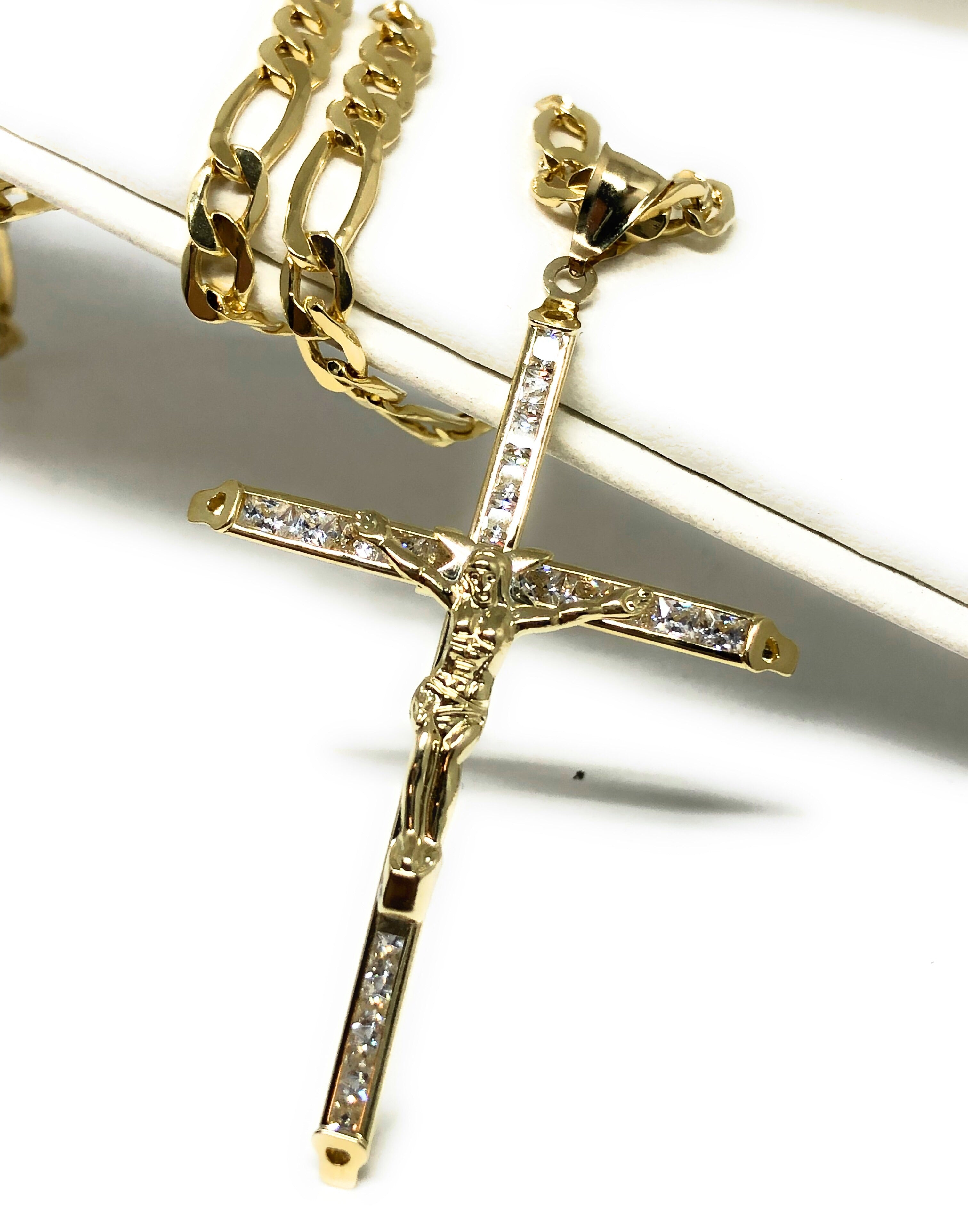 10k Solid Gold Jesus Cross Pendant Necklace Cubic Zirconia Crucifix with Chain