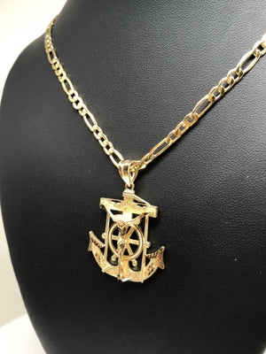 10k Solid Gold Yellow Anchor Jesus Crucifix Ancla Cristo Pendant Necklace with Chain