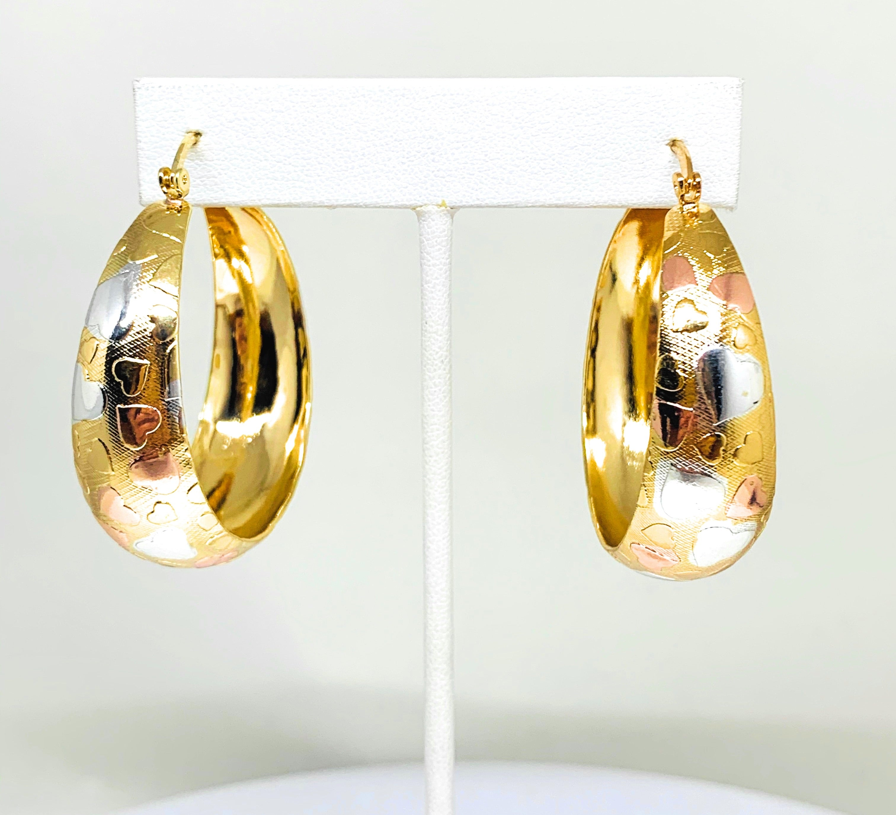 Gold Plated Tri-Color Hearts Hoop Earrings Aretes Arracada Tres Colores