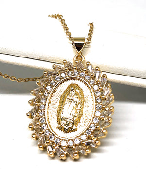 "Gold Plated Virgin Mary Pendant Necklace CZ 20"" Virgen de Guadalupe"