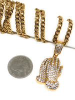 "Iced Out Gold Plated Micro Prayer Hand CZ Pendant Necklace 30"" Cuban Link Chain"