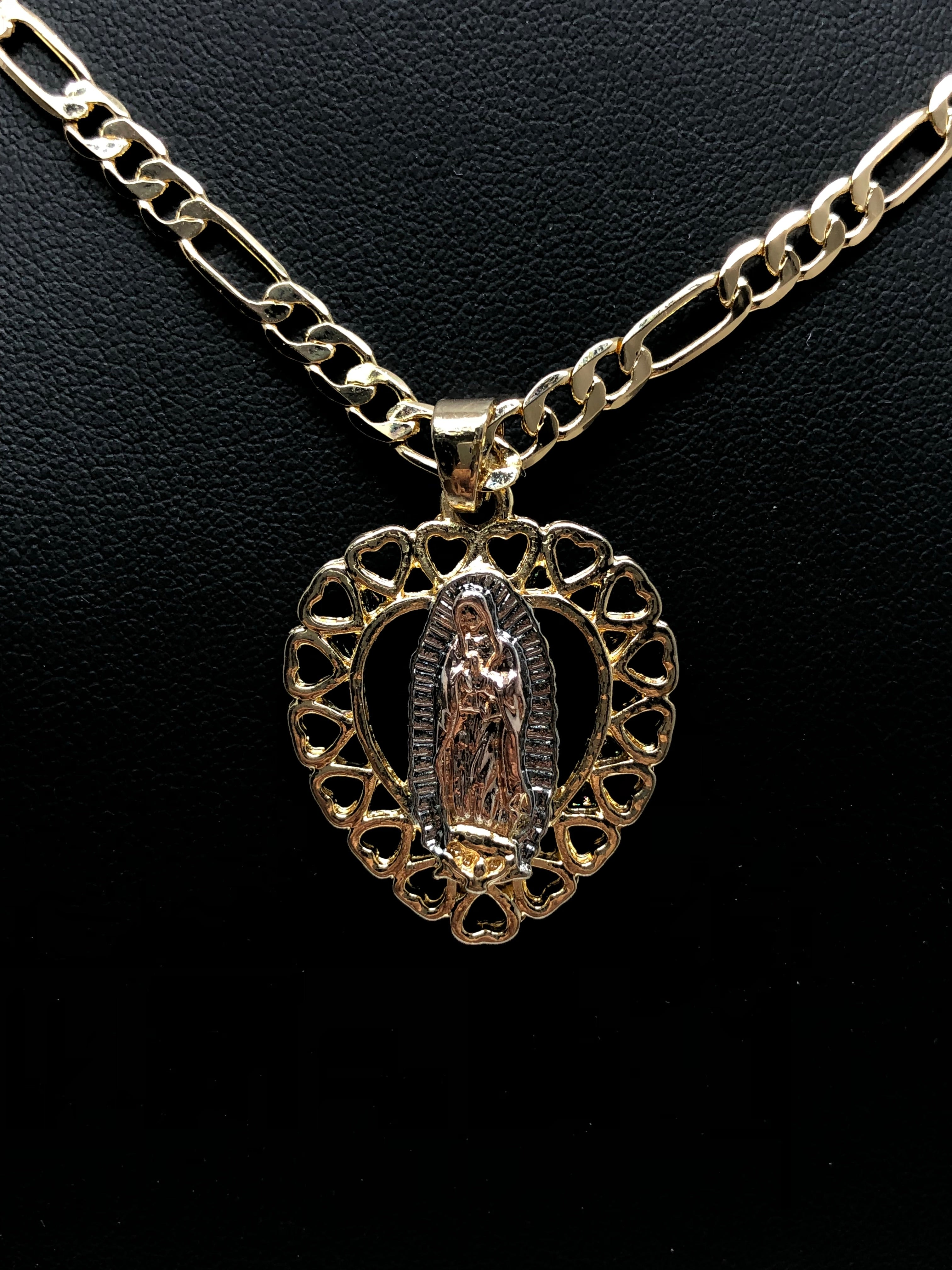 "Gold Plated Tri-Color Virgin Mary Heart Pendant Necklace 24"" Virgen de Guadalupe Medalla Tres Colores Corazon"