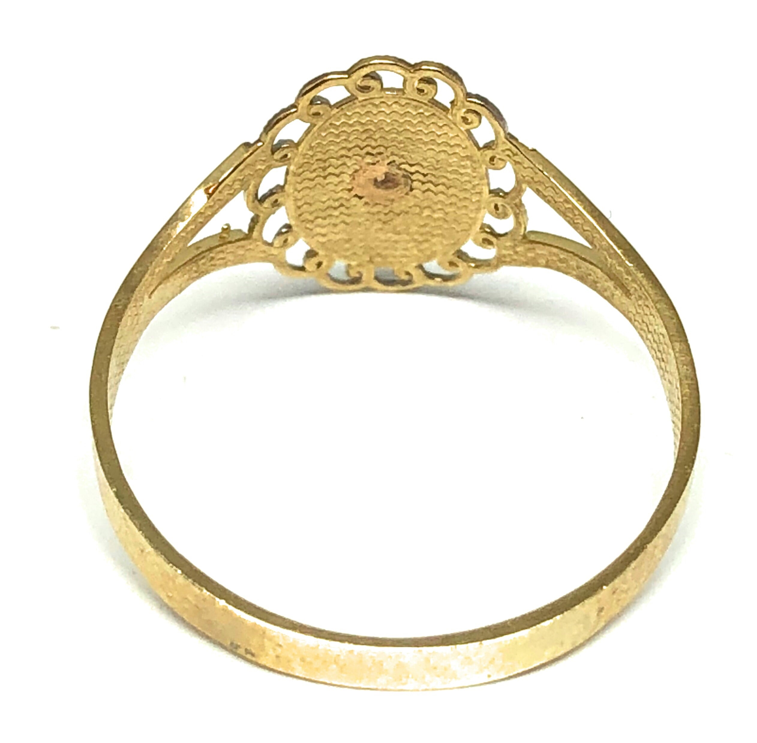 14k Solid Gold Yellow Tri-Color Virrgin Mary Ring